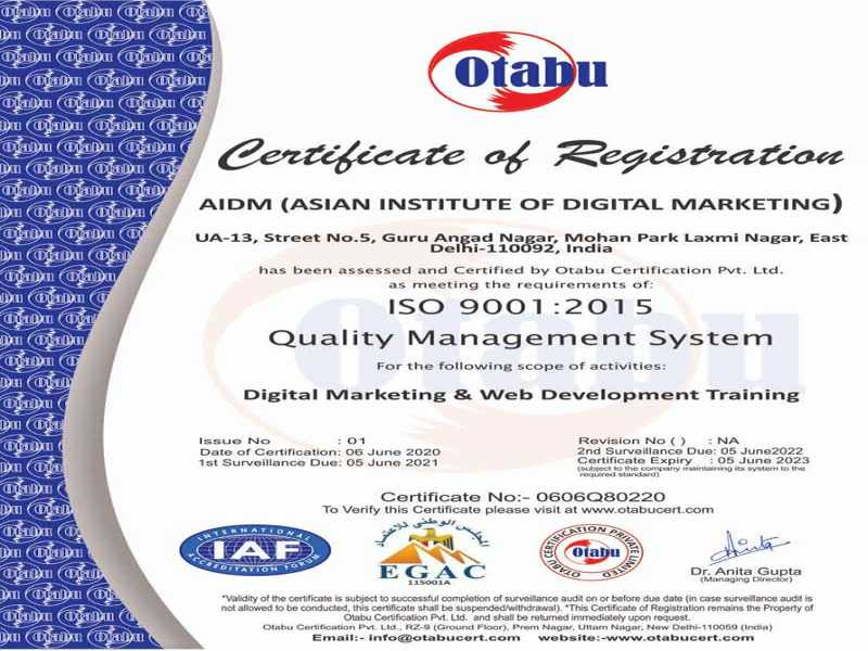 AIDM ISO CERCIFICATE NO 0606Q80220