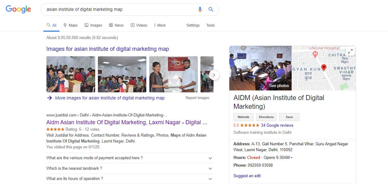 Asian-Institute-of-Digital-Marketing-google-my-business-page