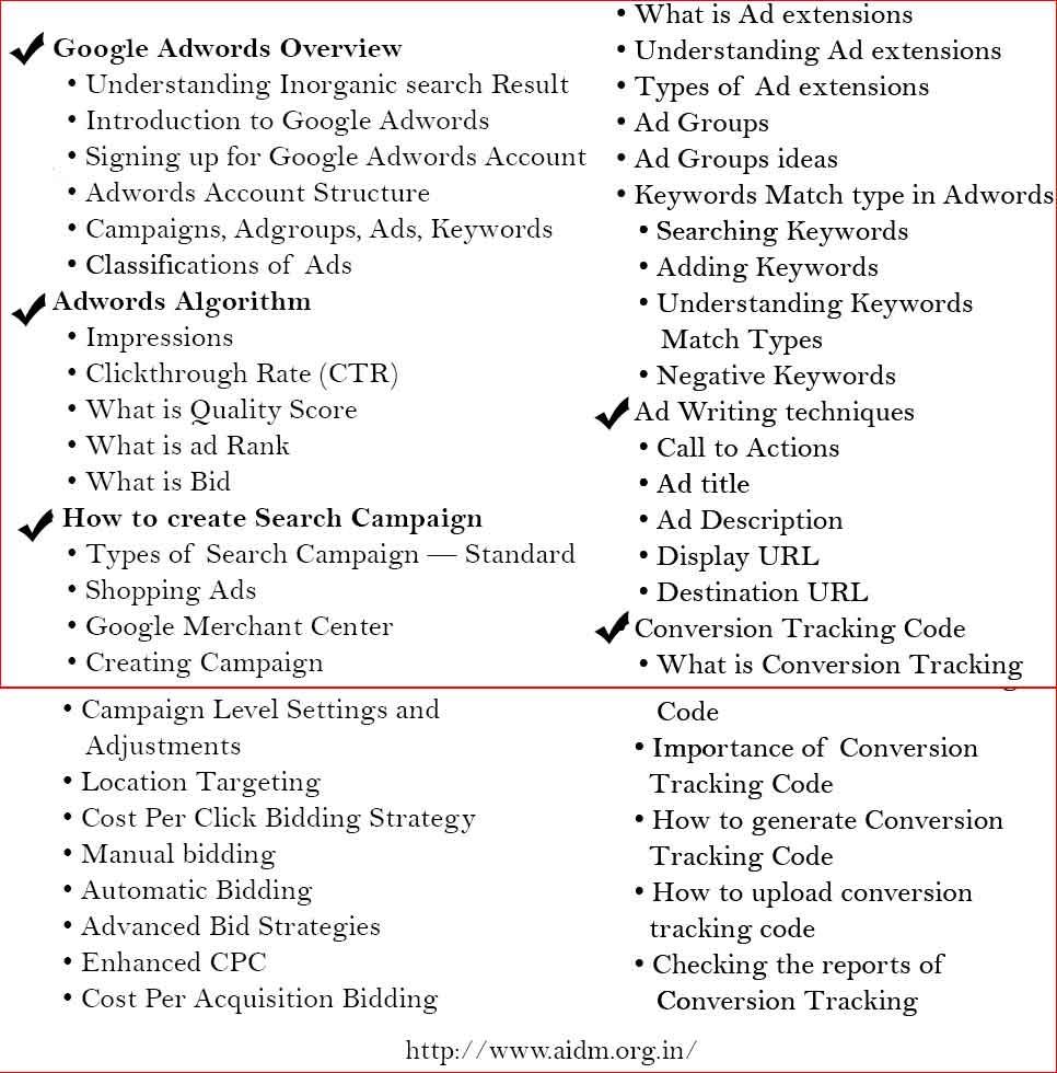 advance google adword course content