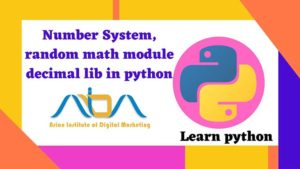 Number system, random module, math library, decimal in the python programming language