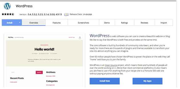 wordpress software or CMS