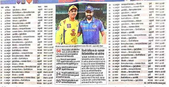 Indian Premier League IPL 2020 time table match list