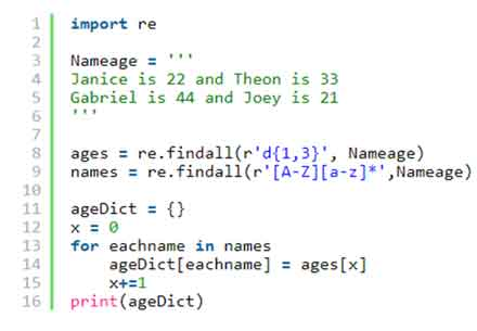 Use the following code Regular Expressions in python