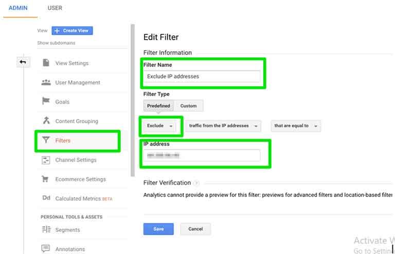Google Analytics Add Filters