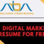 Digital marketing resume for fresher